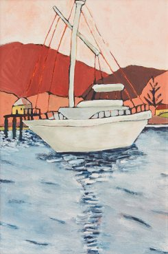 Ketch, Acrylic on canvas 35cm x 50cm