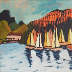 Newport Boats, Acrylic on canvas 30cm x 30cm
