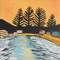 Patonga Sunset, Acrylic on canvas 30cm x 30cm