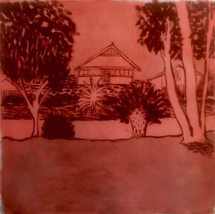 Cross River House 30 x 30cm Acrylic on linen