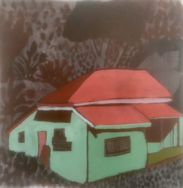 Green House 30 x 30cm Arylic on linen
